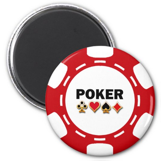 RED AND WHITE POKER CHIP MAGNET
