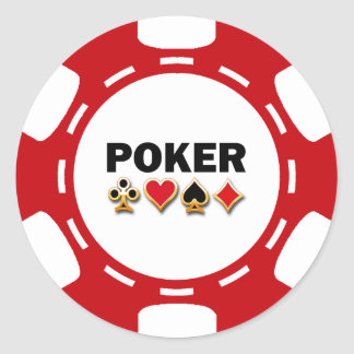 RED AND WHITE POKER CHIP ROUND STICKERS