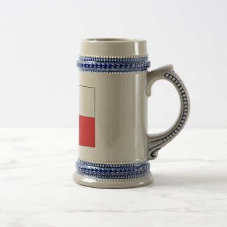 Red and White Polish Flag 18 Oz Beer Stein