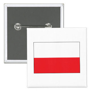 Red and White Polish Flag 2 Inch Square Button