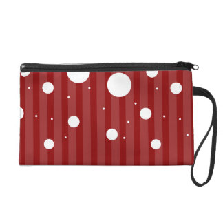 Red and White Polka Dot Bagette Wristlet Clutches