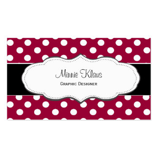 Red and White Polka Dot Business Cards