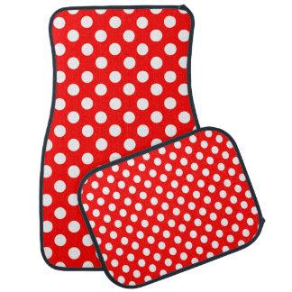 Red and White Polka Dot Car Mat Set