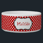 "Red and White Polka Dot Custom Dog Bowl<br><div class=""desc"">Stylish dog food dish done with a red and white polka dot band, around the dish, and a black edged white decorative text area, in the middle for your pet&#39;s name. Fun red colored custom text allows you to customize with your pet&#39;s name, for a personalized bowl your dog can...</div>"