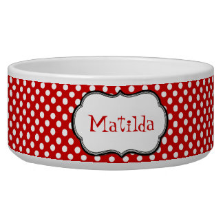 Red and White Polka Dot Custom Dog Bowl