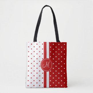 Red and White Polka Dot Design Tote Bag