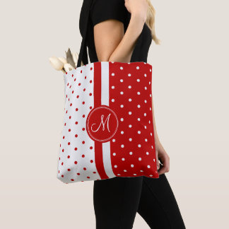 Red and White Polka Dot Design Tote Bag