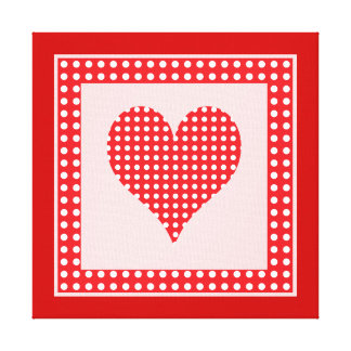 Red and White Polka Dot Heart Pattern Canvas Print