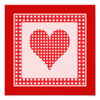 Red and White Polka Dot Heart Pattern Photo Print