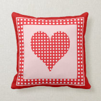 Red and White Polka Dot Heart Pattern Pillow