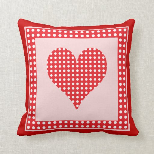 Red and white polka dot heart pattern pillow zazzle for Red and white polka dot pattern