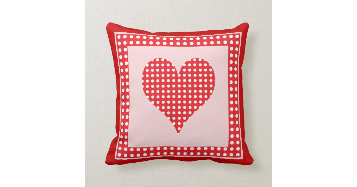 Red and White Polka Dot Heart Pattern Throw Pillow Zazzle