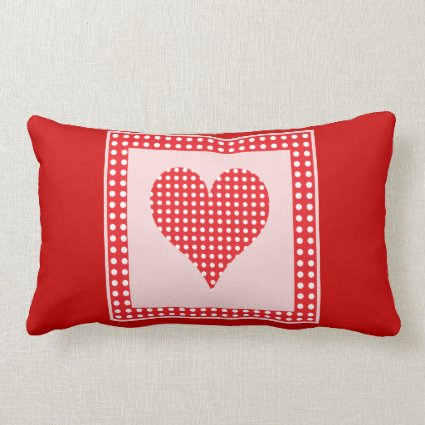 Red and White Polka Dot Heart Pattern Throw Pillow