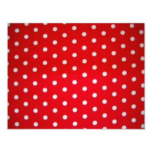 "Red and White Polka Dot 4.25"" X 5.5"" Invitation Card"