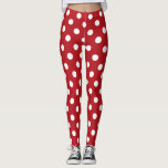 """Red and White Polka Dot Leggings<br><div class=""""desc"""">Cute red and white polka dot pattern leggings. Perfect for the Christmas holiday season!</div>"""