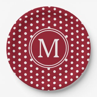 Red and White Polka Dot Monogram Paper Plate