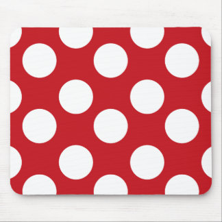 Red and White Polka Dot Mouse Pad