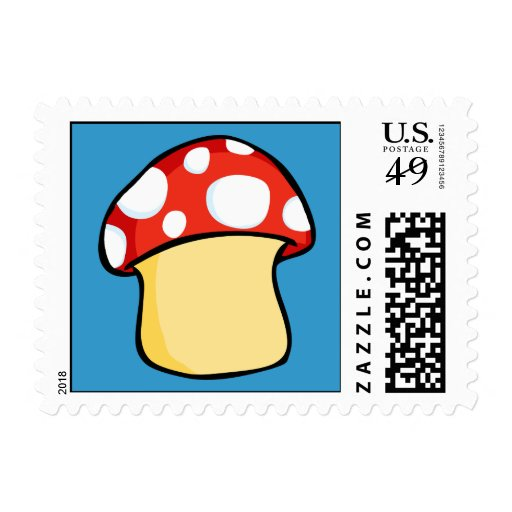 Red and White Polka Dot Mushroom Postage Stamps