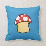 Red and White Polka Dot Mushroom Throw Pillows