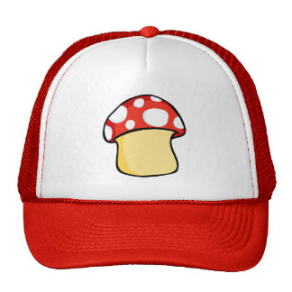 Red and White Polka Dot Mushroom Trucker Hat