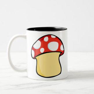 Red and White Polka Dot Mushroom Two-Tone Coffee Mug