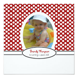 Red and White Polka Dot Party Invitation