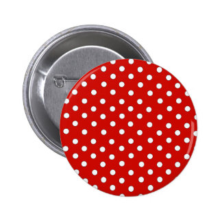 Red and White Polka Dot Pattern Pinback Buttons
