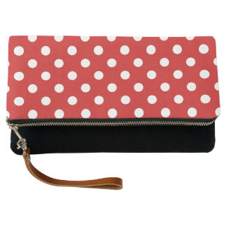 Red and White Polka Dot Pattern Clutch