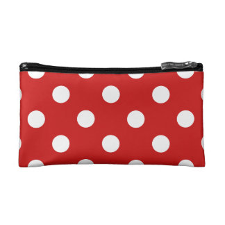 Red and White Polka Dot Pattern Cosmetic Bag