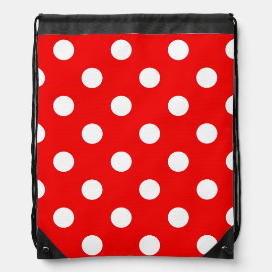 316252a78a94 Red and white polka Dot pattern Drawstring Bag