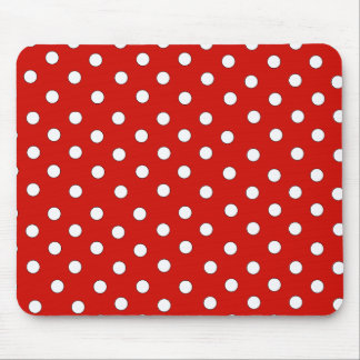 Red and White Polka Dot Pattern Mouse Pad