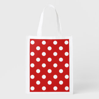 Red and White Polka Dot Pattern Reusable Grocery Bag
