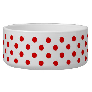 Red and White Polka Dot Pattern Spots Dog Water Bowls