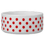Red and White Polka Dot Pattern Spots Pet Food Bowl