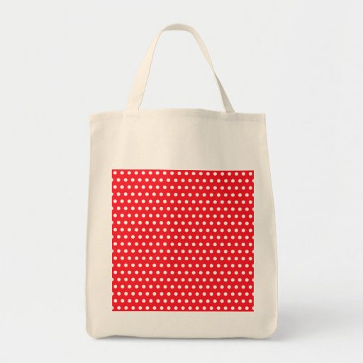 Red and White Polka Dot Pattern. Spotty. Tote Bags
