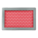 Red and White Polka Dot Pattern. Spotty. Belt Buckles
