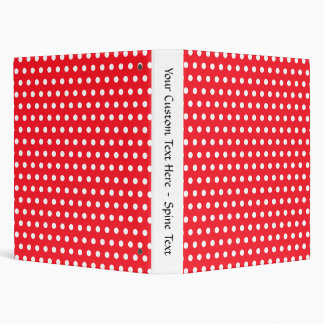 Red and White Polka Dot Pattern. Spotty. Binder