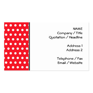 Red and White Polka Dot Pattern. Spotty. Business Card