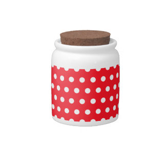 Red and White Polka Dot Pattern. Spotty. Candy Jar