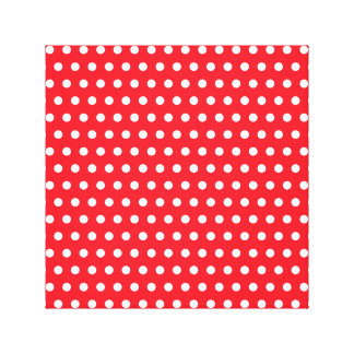 Red and White Polka Dot Pattern. Spotty. Gallery Wrap Canvas