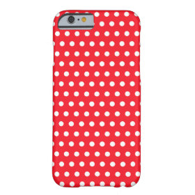 Red and White Polka Dot Pattern. Spotty. Barely There iPhone 6 Case