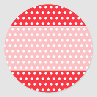 Red and White Polka Dot Pattern. Spotty. Classic Round Sticker