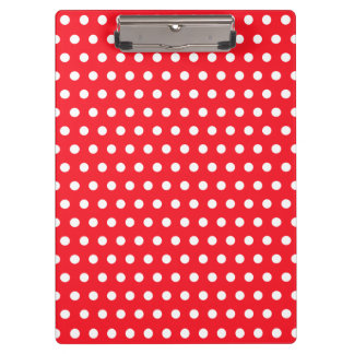 Red and White Polka Dot Pattern. Spotty. Clipboard