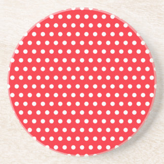 Red and White Polka Dot Pattern. Spotty. Beverage Coasters