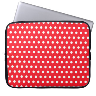 Red and White Polka Dot Pattern. Spotty. Computer Sleeve