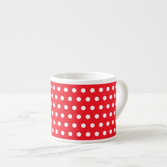 Red and White Polka Dot Pattern. Spotty. Espresso Cup