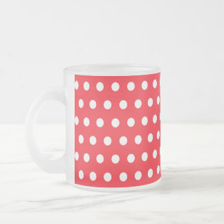 Red and White Polka Dot Pattern. Spotty. Frosted Glass Coffee Mug