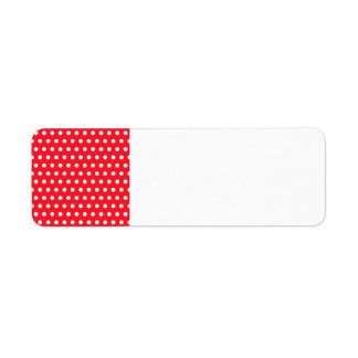 Red and White Polka Dot Pattern. Spotty. Label