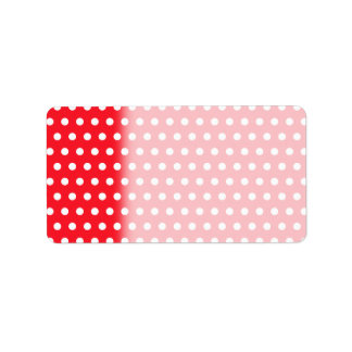 Red and White Polka Dot Pattern. Spotty. Labels