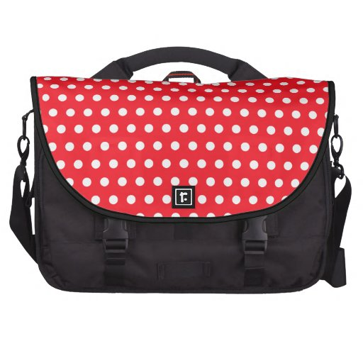 Red and White Polka Dot Pattern. Spotty. Laptop Commuter Bag